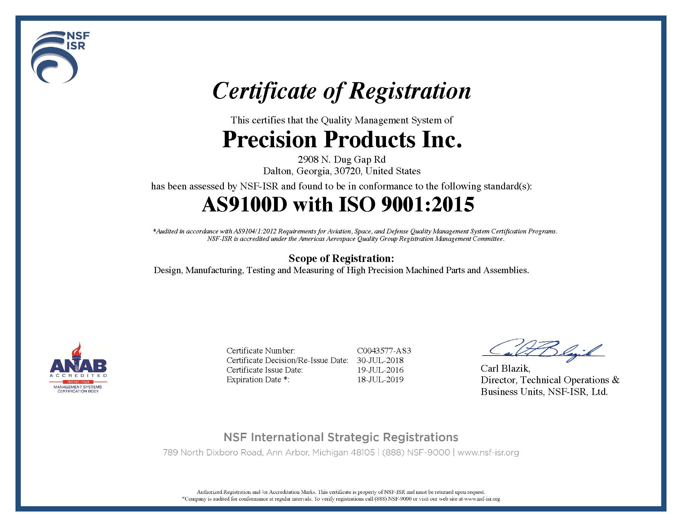 C0043577-AS3 Certification