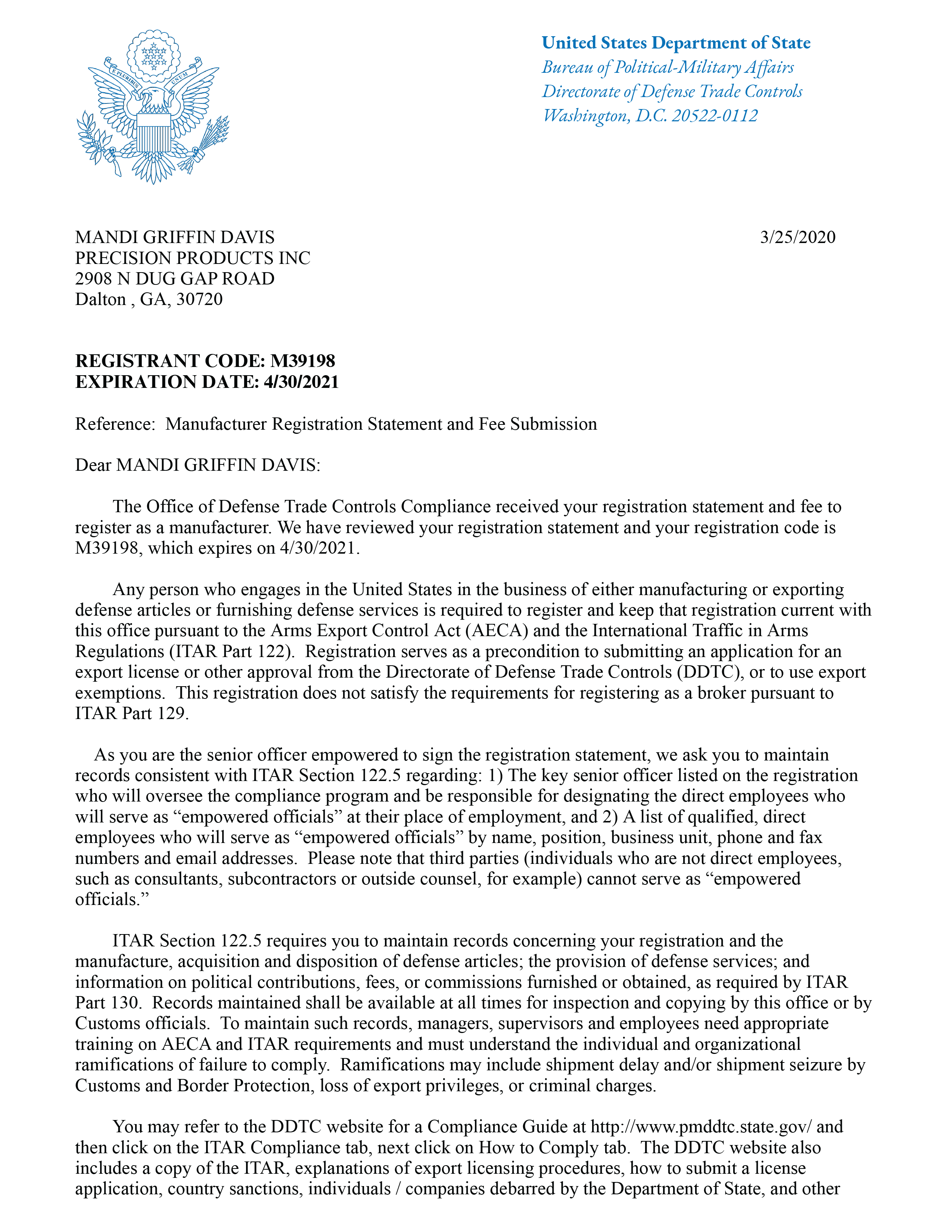 ITAR_Regulation_Letter_M39198-01